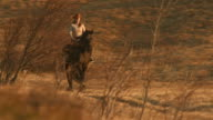 HD: Cowgirl Riding Horse At Sunset video