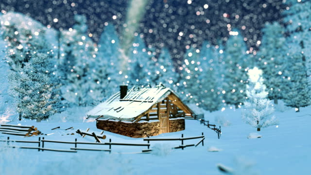 Cozy little hut in mountains at snowfall night video