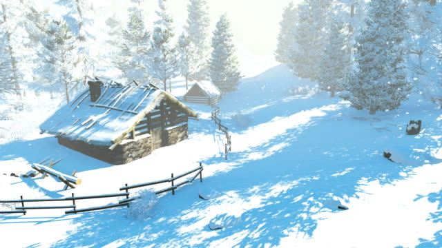 Cozy little hut in the snowy mountains at sunny day video