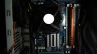 Cpu fan , motherboard inside computer video