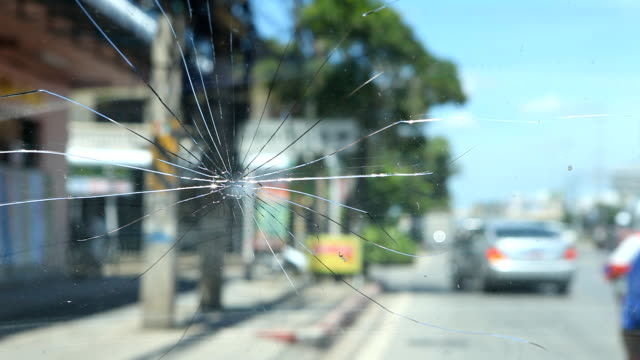 Cracked windshield. video