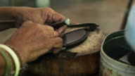 Craftsman work in the leather workshop video