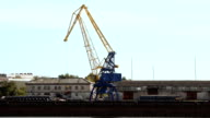 crane in the port moves loads video