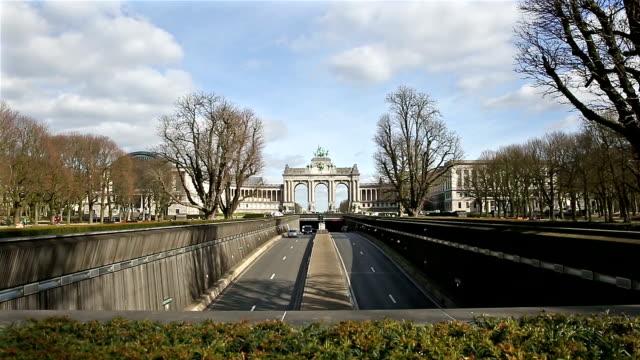 HD Crane shot: The Triumphal Arch in Cinquantenaire Parc Brussels video