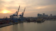WS Cranes in harbor of Genoa at sunset video