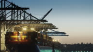 Cranes Unloading Container Ship at Sunset video