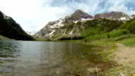 Crater Lake right next to the Maroon Bells looking up at the Amazing Elk Mountains Timelapse video