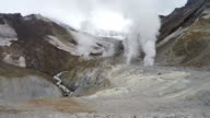 Crater of active Mutnovsky Volcano: fumarole, thermal field, hot spring video