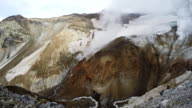 Crater of active volcano: fumarole, thermal field, hot spring video