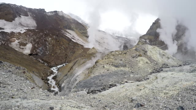 Crater of active volcano: hot springs, thermal and fumarole field video
