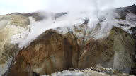 Crater of active volcano: thermal field, fumarole, hot spring video