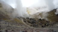 Crater of active volcano: thermal field, hot spring, fumarole (time lapse, 4K) video
