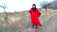 Crazy Woman In Skis At Steppe Zone video