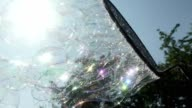 Create a whimsical bubble with the device. Bubbles Flying in the Sky video