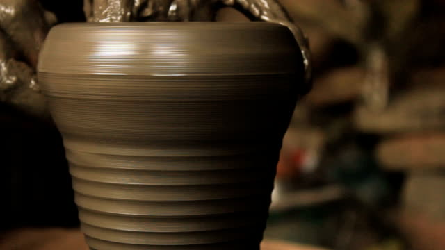 Creation of a clay pot. Close up 1 of 2. video