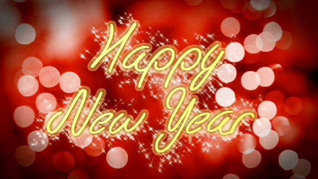 Creative Happy New Year congratulation message on romantic red background video