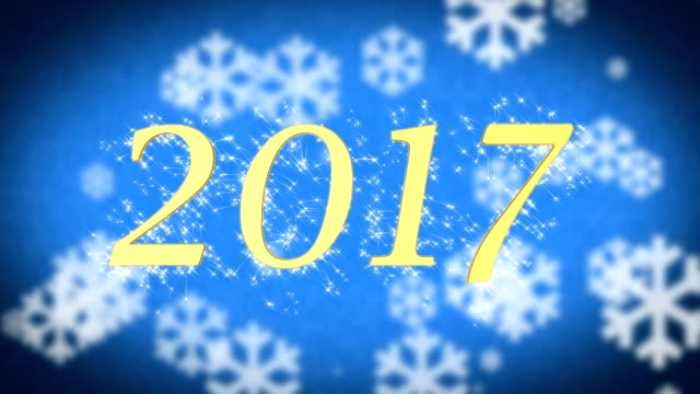 2017 creative New Year celebration message on blue snowy background, screensaver video