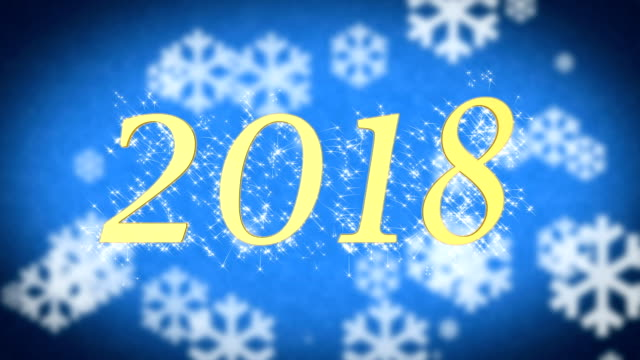 2018 creative New Year celebration message on blue snowy background, screensaver video