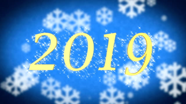 2019 creative New Year celebration message on blue snowy background, screensaver video