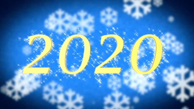 2020 creative New Year celebration message on blue snowy background, screensaver video