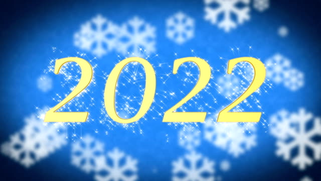 2022 creative New Year celebration message on blue snowy background, screensaver video