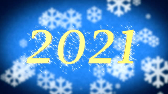 2021 creative New Year celebration message on blue snowy background, screensaver video