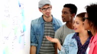 Creative team brainstorming together looking at whiteboard video
