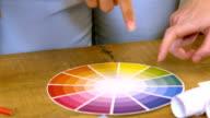 Creative team choosing colours from a colour wheel video