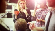 Creative teamwork group in the startup office: coffee break video