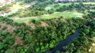 Creek running along the Texas Hill Country seen from Aerial View video