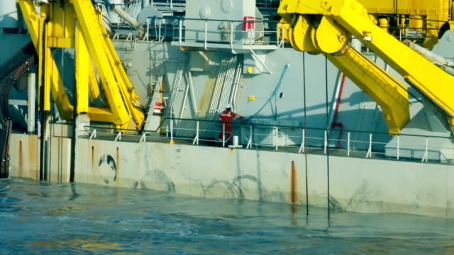 Crew member working on board special purpose offshore vessel video