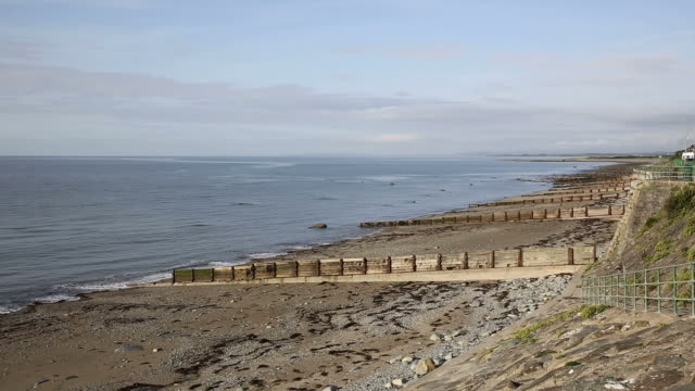 Criccieth beach and sea North Wales UK coast town video