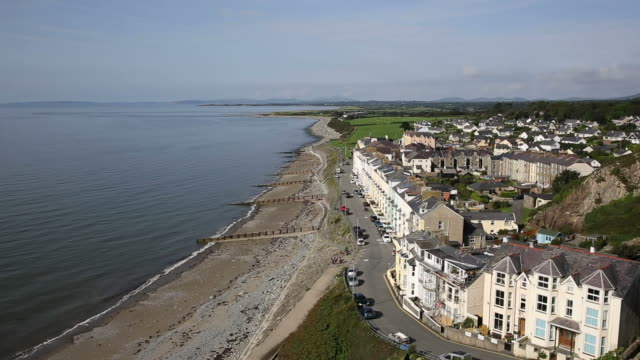 Criccieth seafront North Wales UK elevated view video