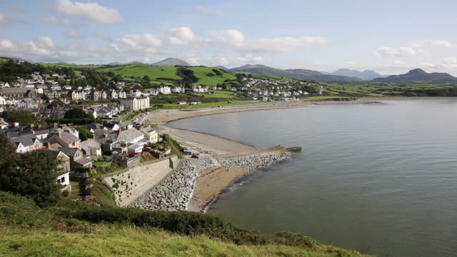 Criccieth town and beach North Wales UK video