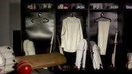 Cricket locker / changing room with Bat, DOLLY (Sport kit) video