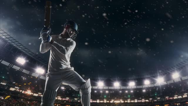 Cricket player on professional cricket stadium video