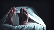 4K Crime Morgue Dead Body Feet with Blank Tag, dolly video