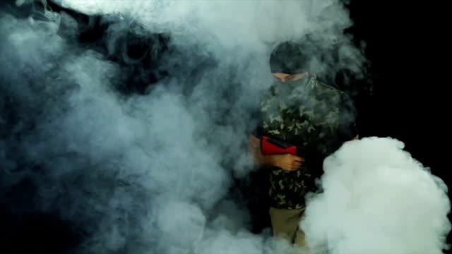 Criminal Masked Gunman Armed Terrorist Walking video