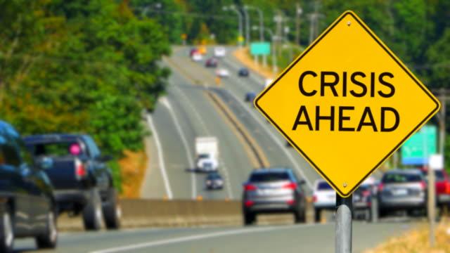 Crisis Ahead, Yellow Diamond Warning Sign, Traffic Alert video