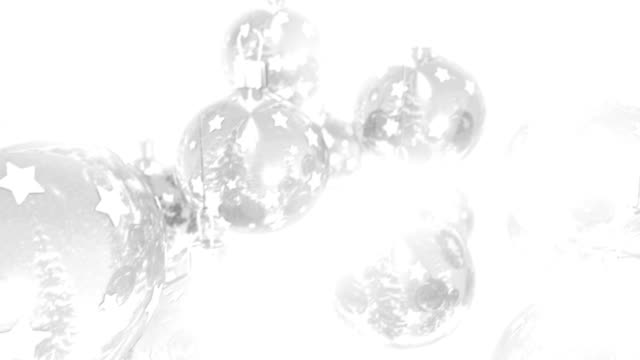 Crisp, clear and bright Christmas balls on a white background video