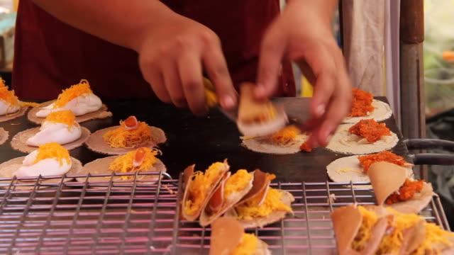 Crispy Pancakes or Kanom Buang, Thai sweet dessert. video