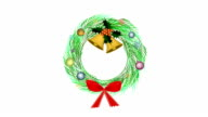 Cristmas Wreath of Pine Leaves with Christmas Decoration video