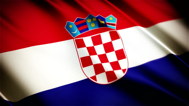 Croatia realistic national flag seamless looped waving animation video