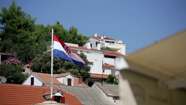 Croatian flag on the island Solta video
