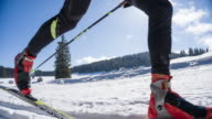 Cross country skier gliding on skiing track video