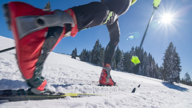 Cross country skier on a parallel grooved ski track video