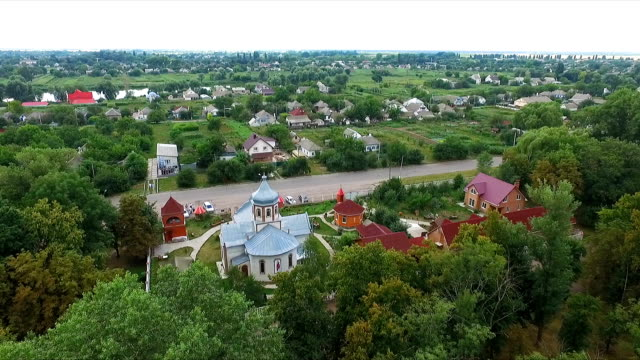 cross - dome of the church - aerial photography video