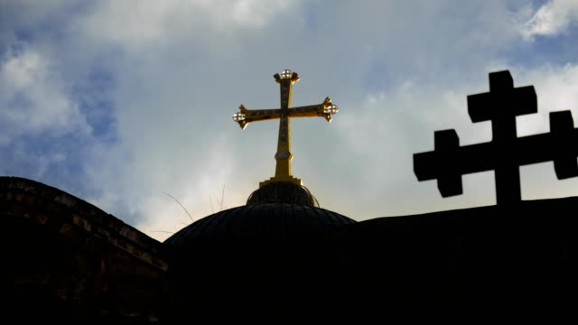 Cross on Temple of the Holy Sepulcher in Jerusalem video