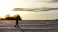 Cross-country skiing on field video
