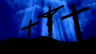 3 Crosses Christ Worship Blue Loopable Background video